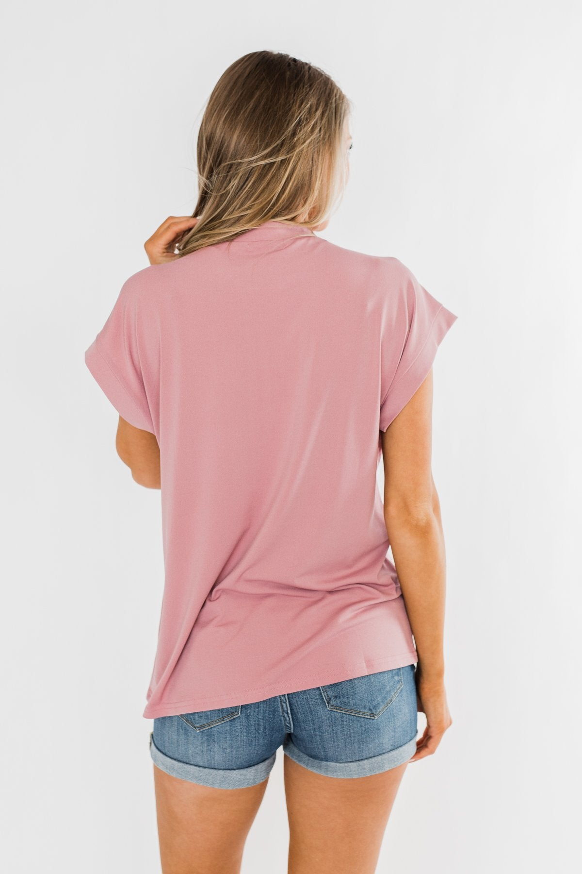 Breath Of Confidence Short Sleeve Blouse- Mauve