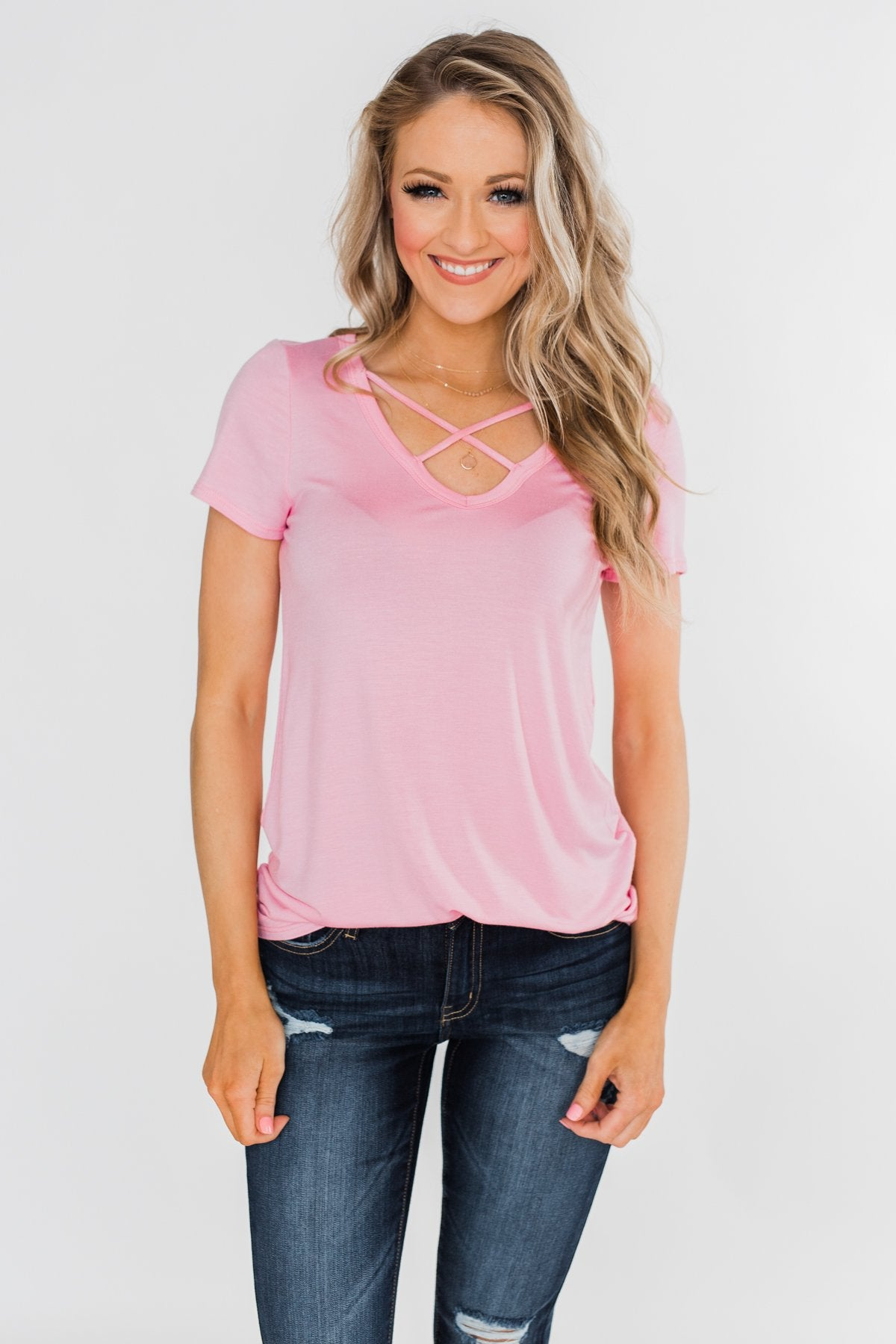 Meet Me Here Short Sleeve Top- Pink