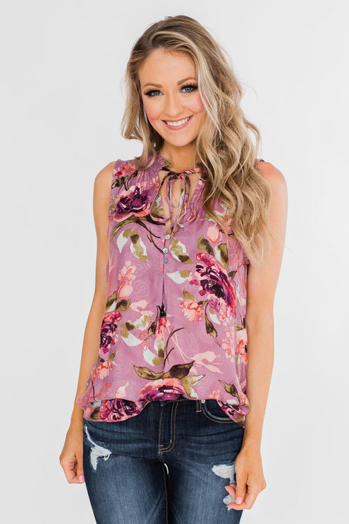 d216bfeced3 I ll Be There Floral Neck Tie Tank Top- Orchid