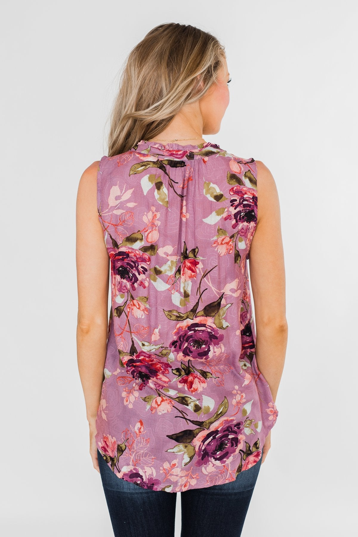 I'll Be There Floral Neck Tie Tank Top- Orchid