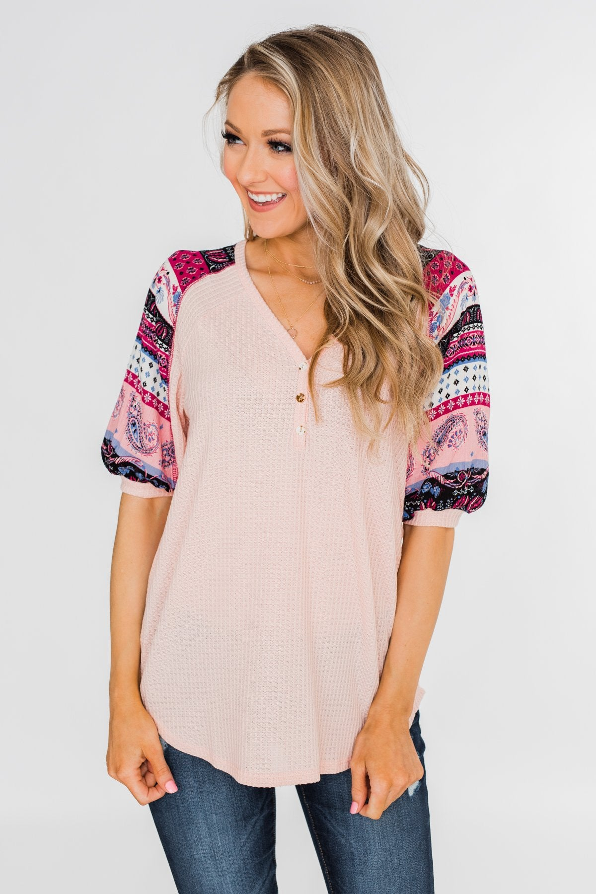 Uniquely You Button Detail Top- Blush