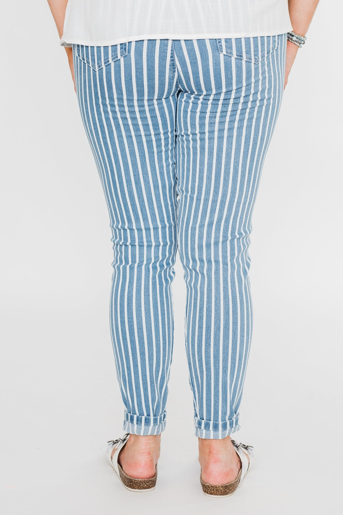 Celebrity Pink Striped Skinny Jeans- Medium Blue Wash