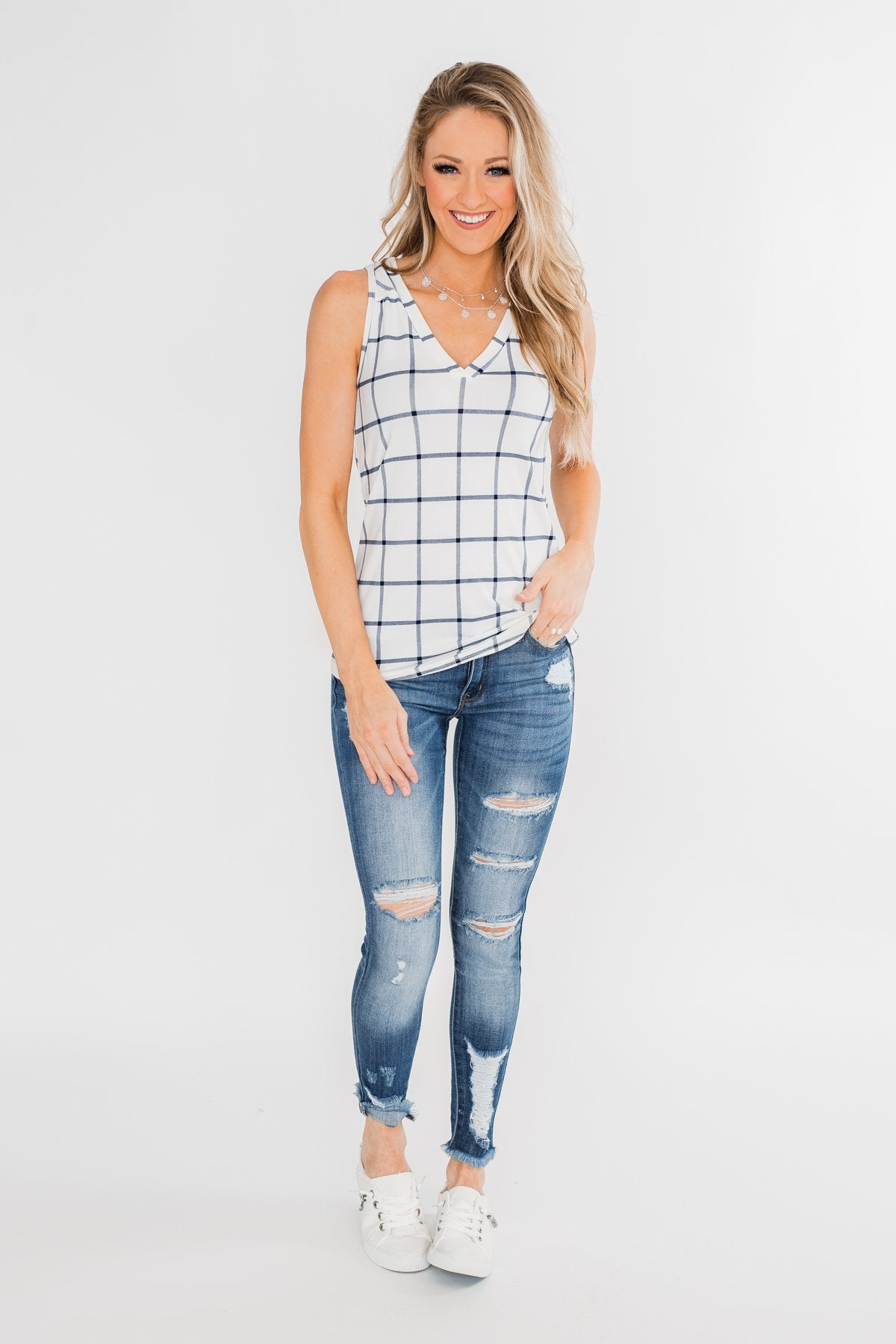 Step to the Beat Graph Striped Tank Top- White