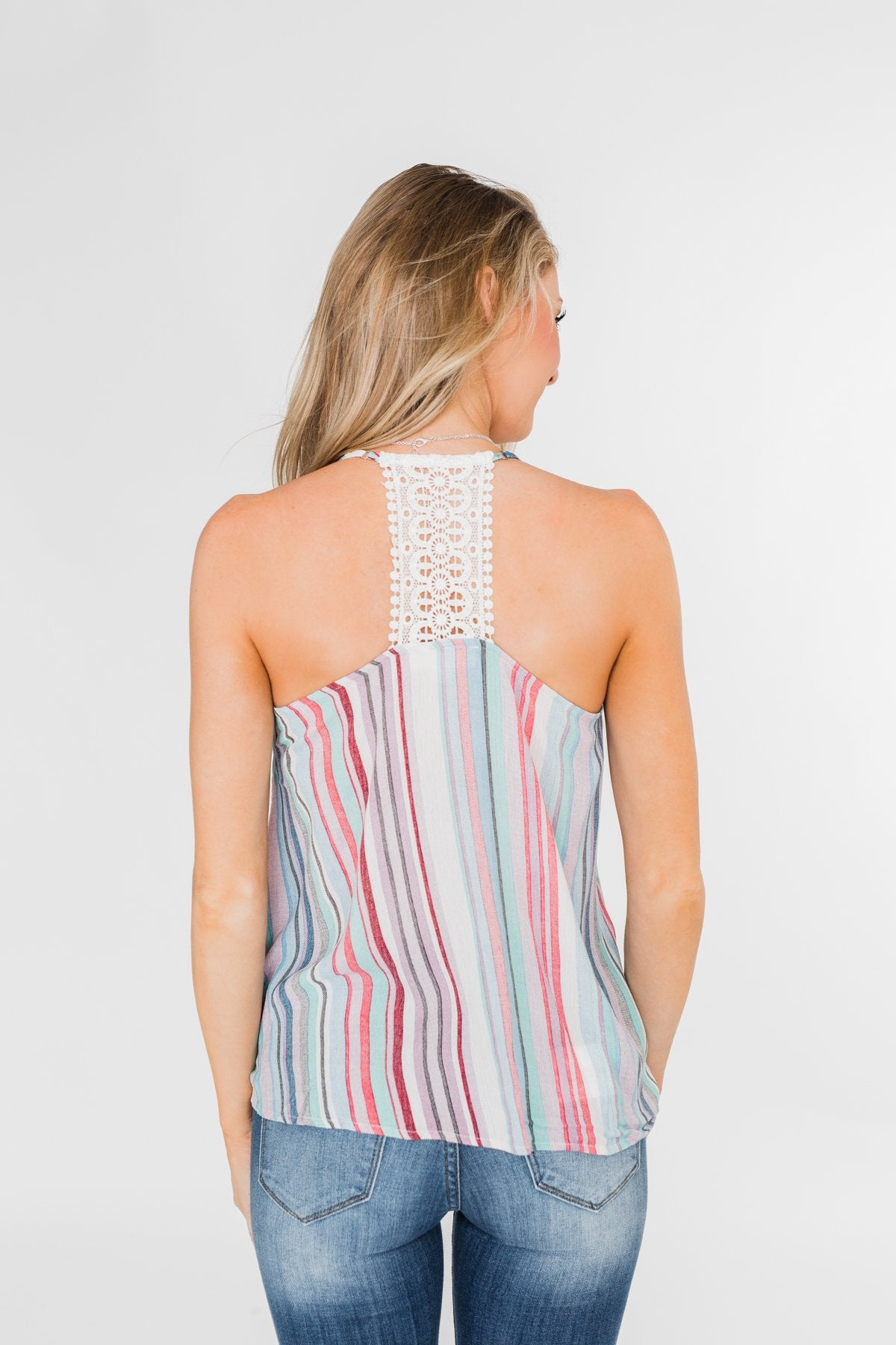 Colorful Stripe and Crochet Halter Tank Top- Lavender & Mint