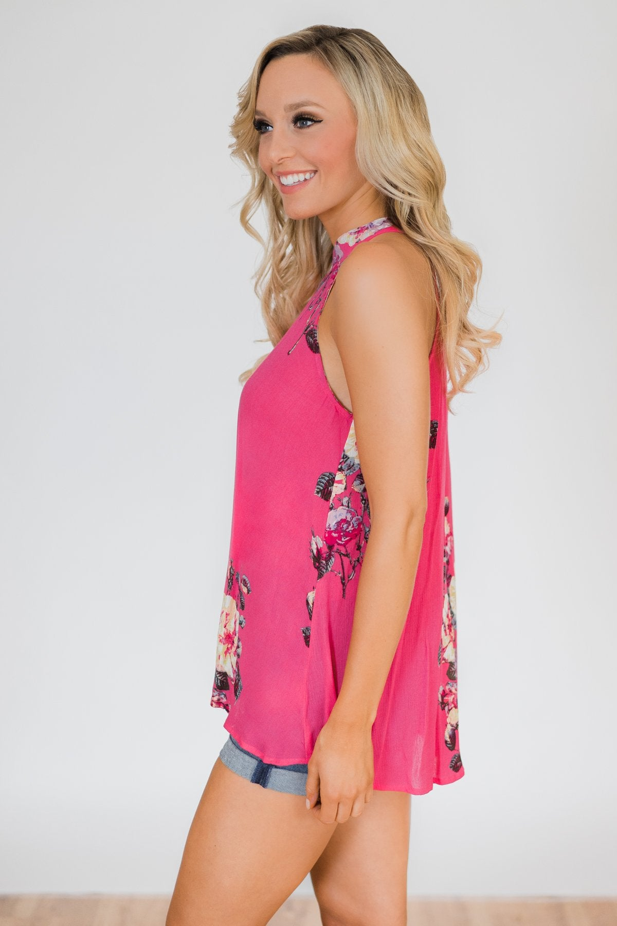 Taken by Floral Tank Top- Hot Pink