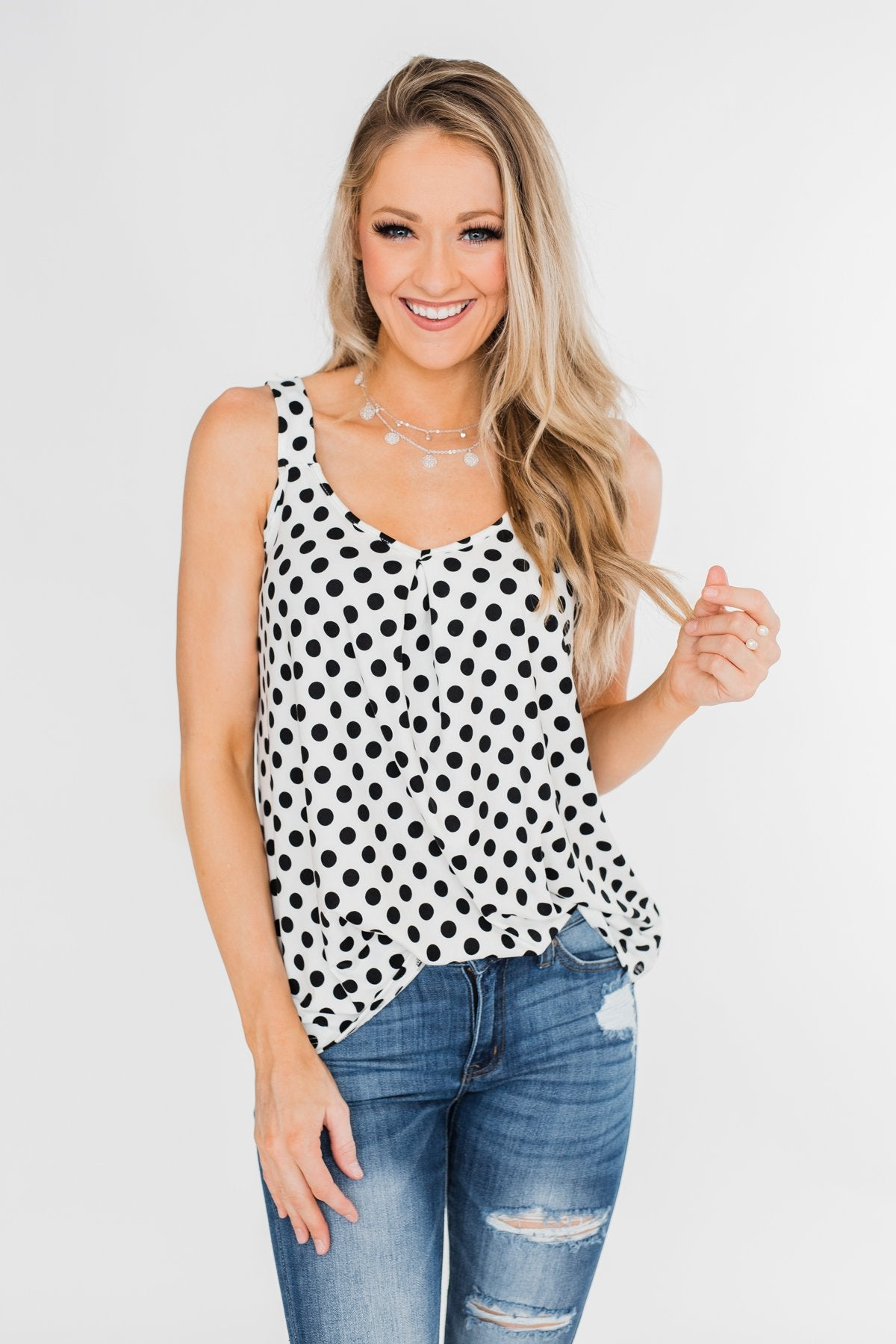 Black & White Polka Dot Tank Top