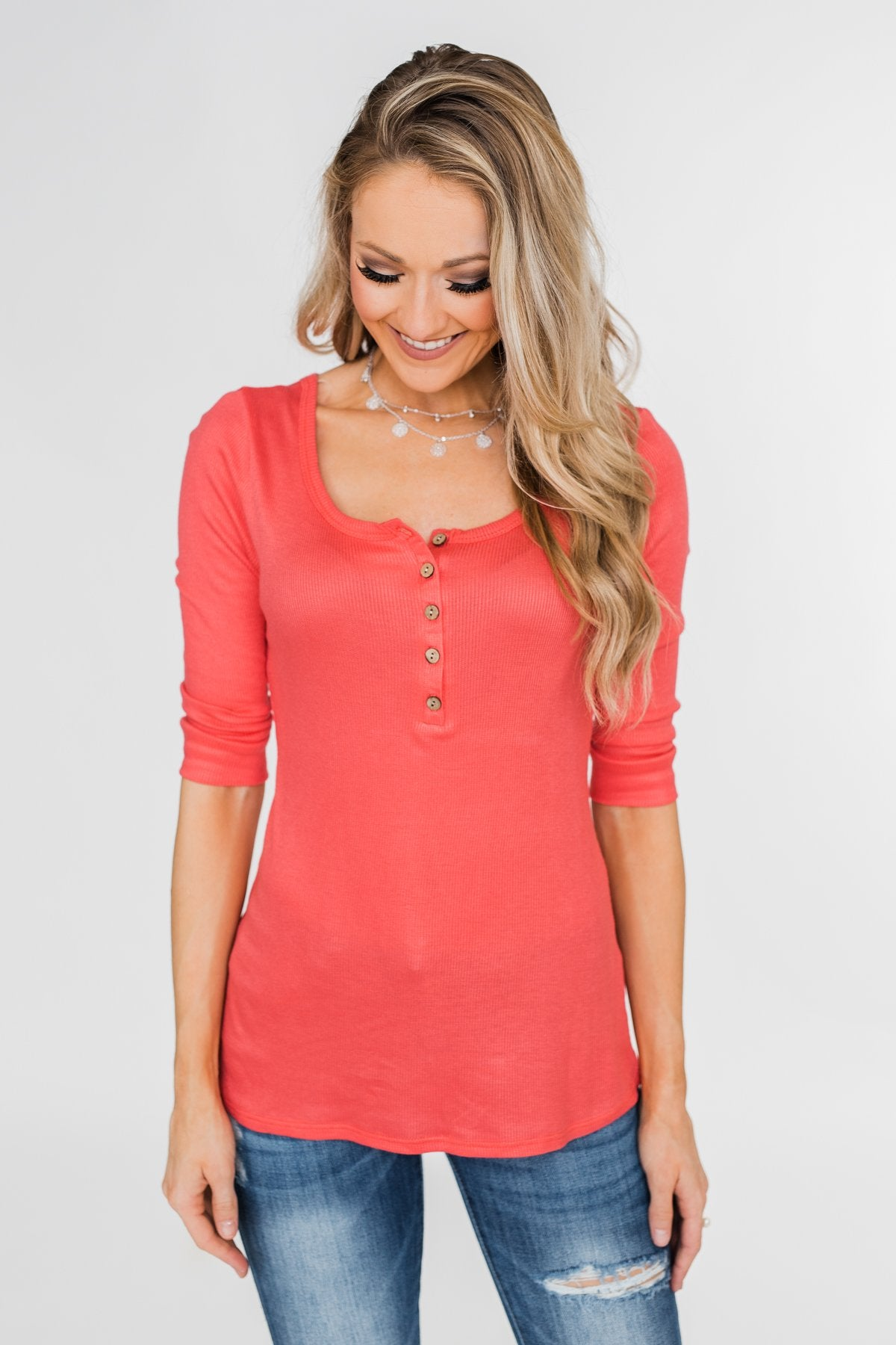 Everyday 3/4 Sleeve Henley - Coral