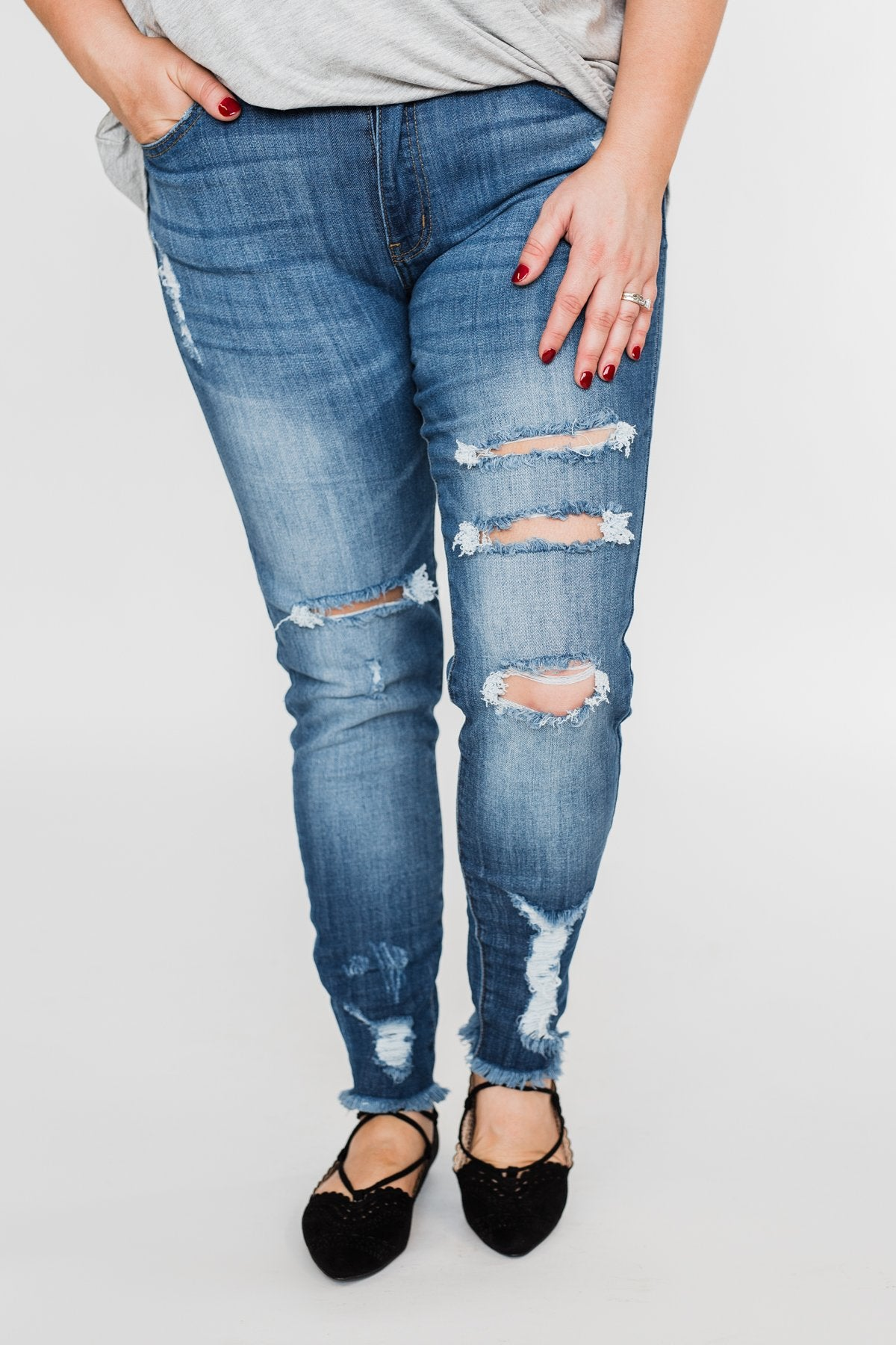 KanCan Distressed Skinny Jeans - Sammy Wash
