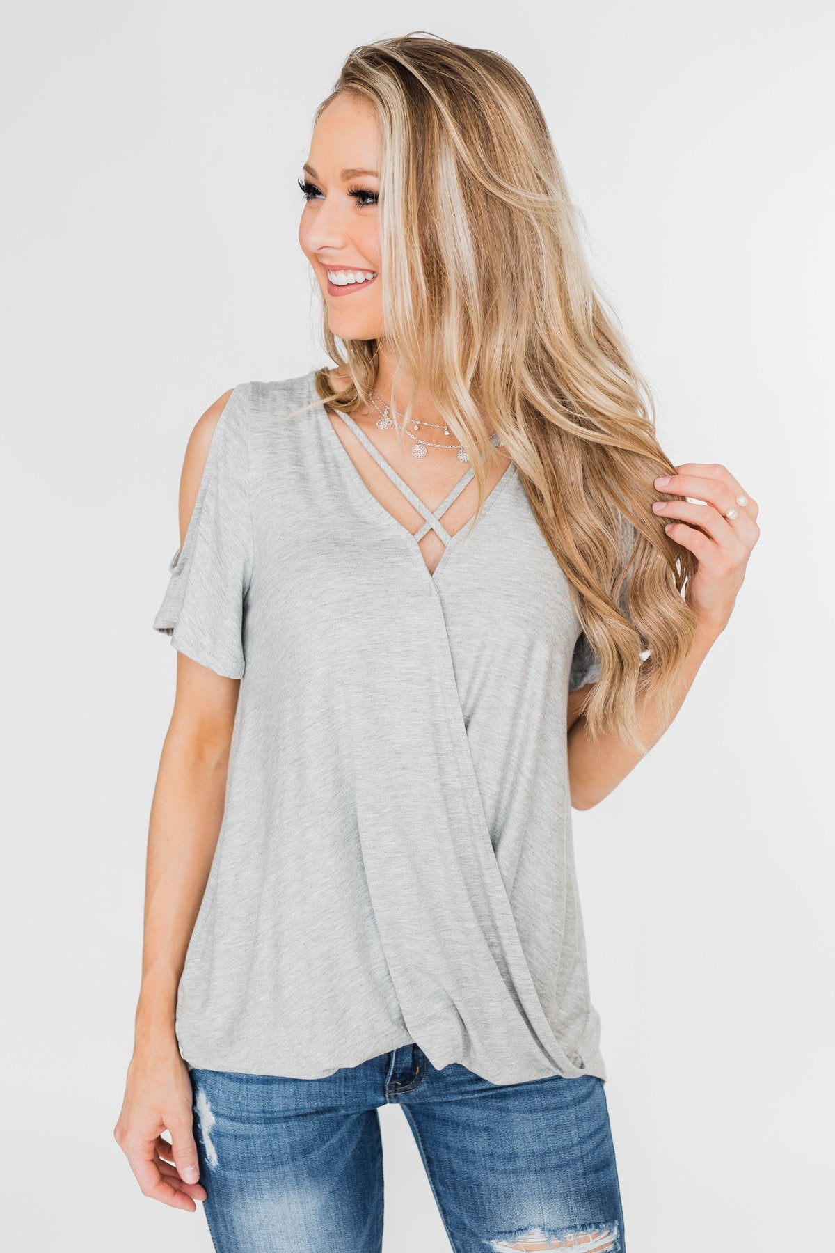 Find My Stride Cold Shoulder Top- Heather Grey