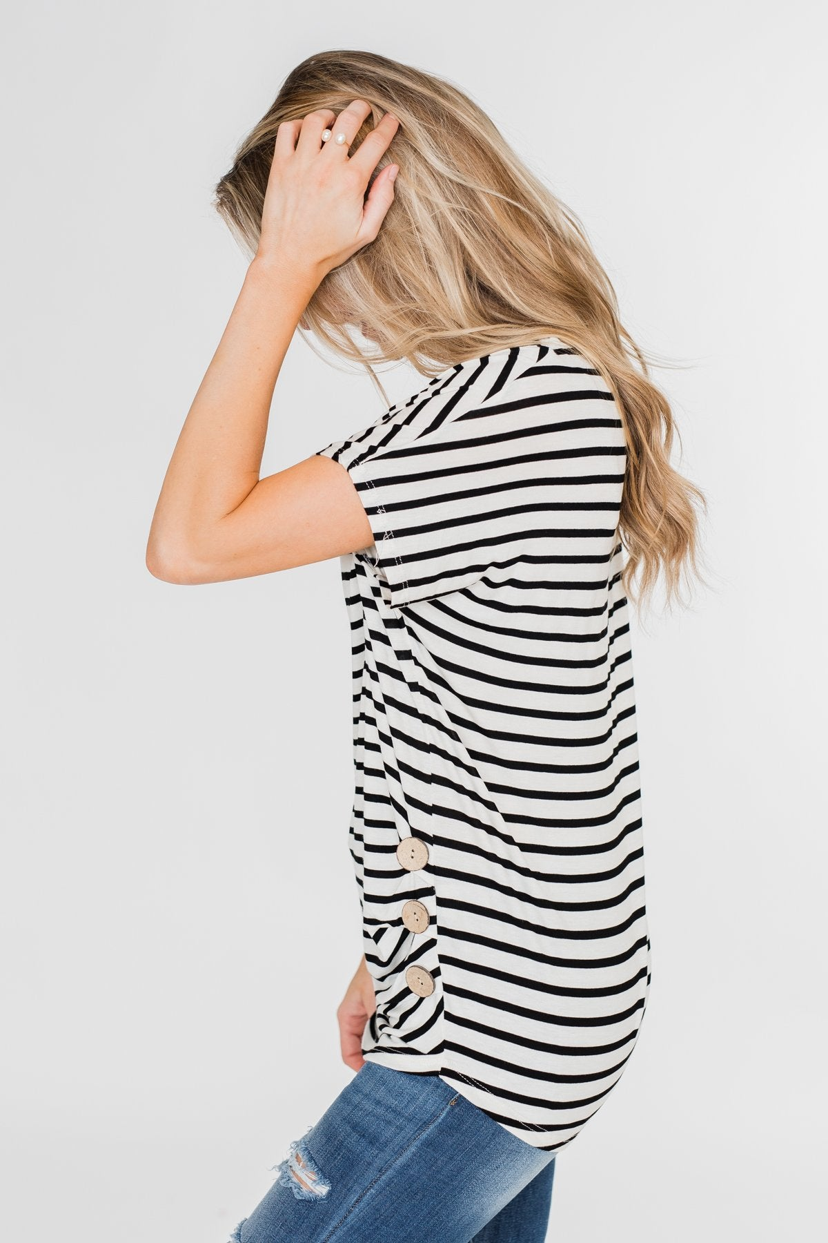 Hold That Thought Striped Top - Black & Ivory