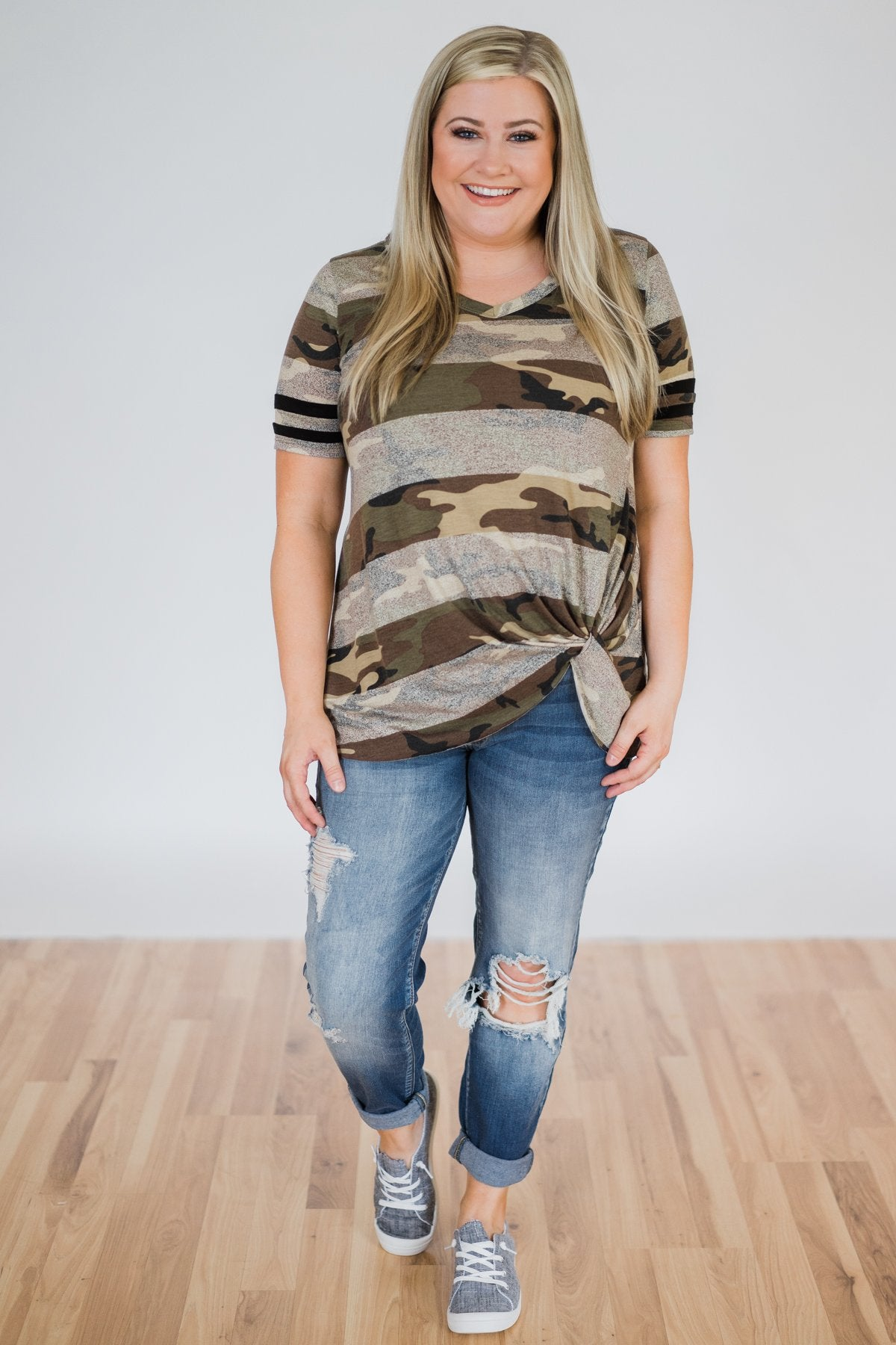 Killing Time Camo Knot Top