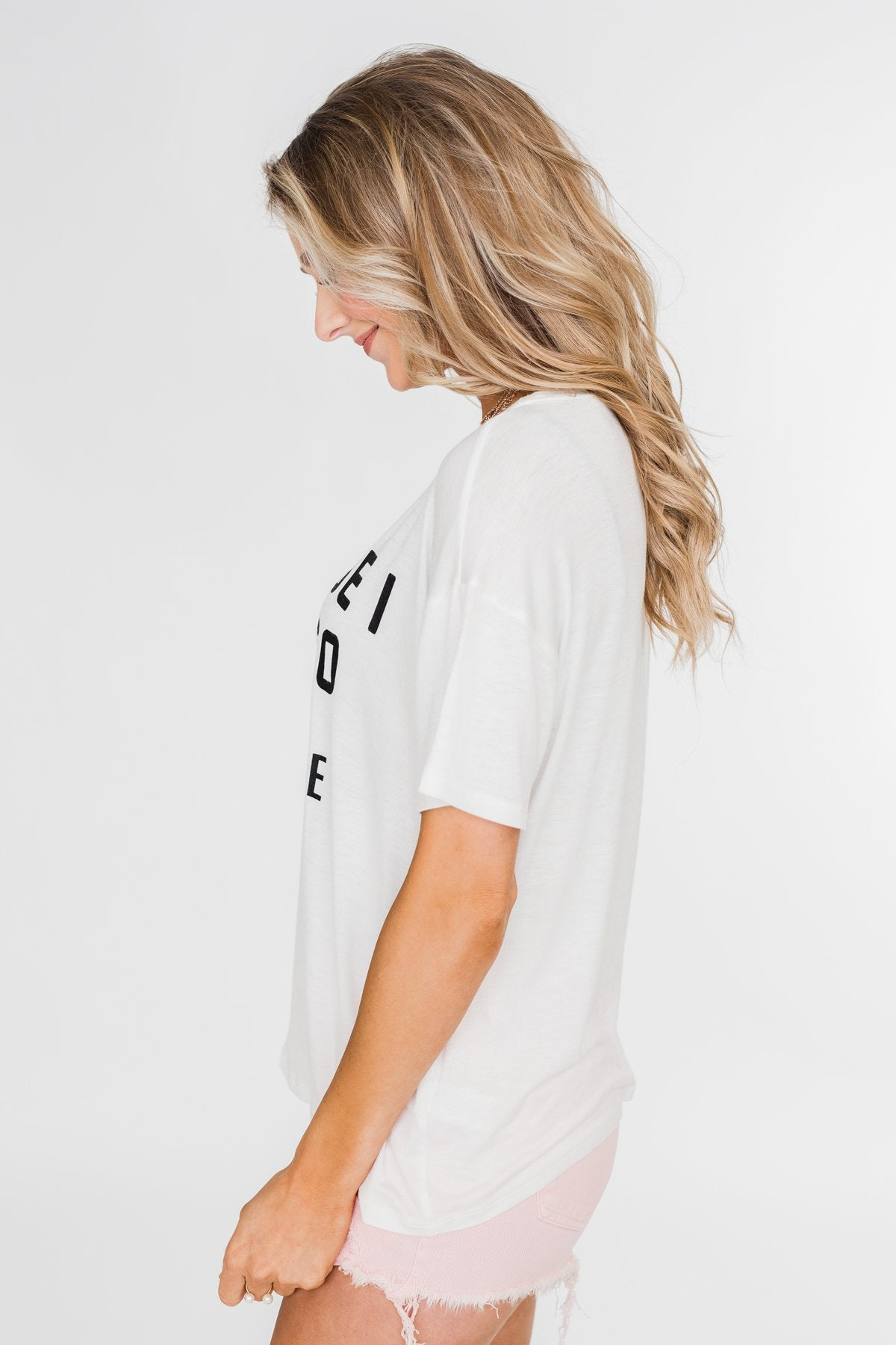 """Because I Said So"" Graphic Short Sleeve Top- Ivory"