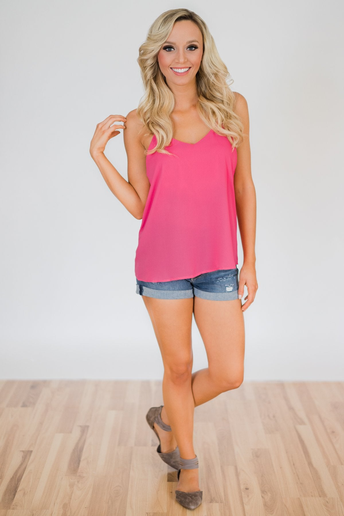 Brighten My Day Tank Top- Fuchsia