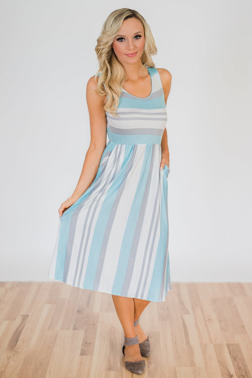 Sweet Life Striped Dress- Light Blue