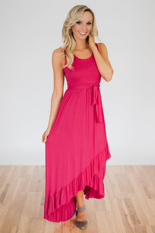 One I Need Hi-Lo Dress- Fuchsia