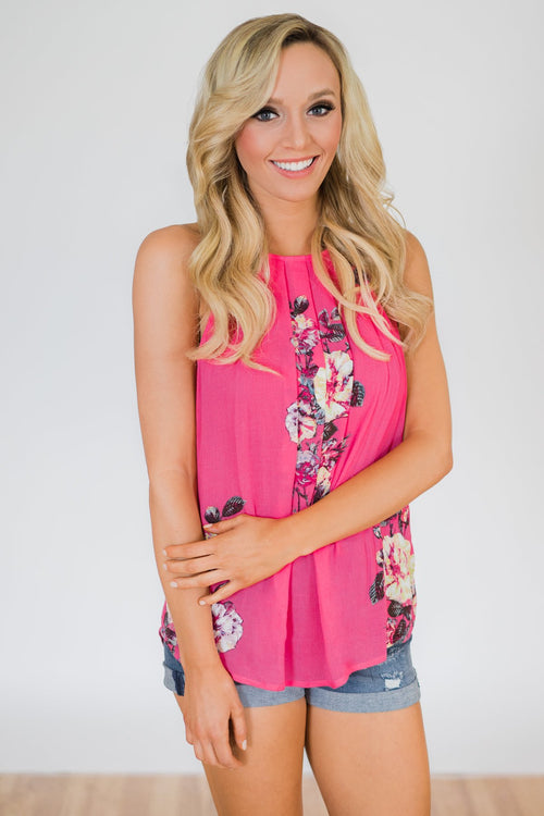 Flaunt the Floral Halter Tank Top- Hot Pink