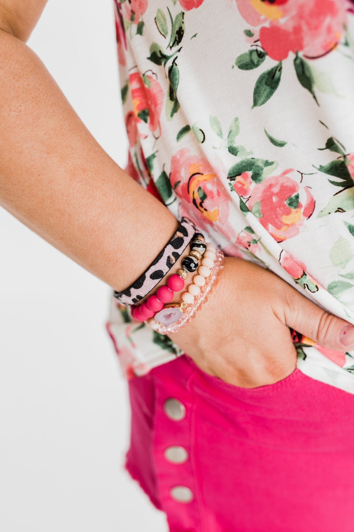 Geo Stone & Leopard Beaded Bracelet Set- Bright Pink