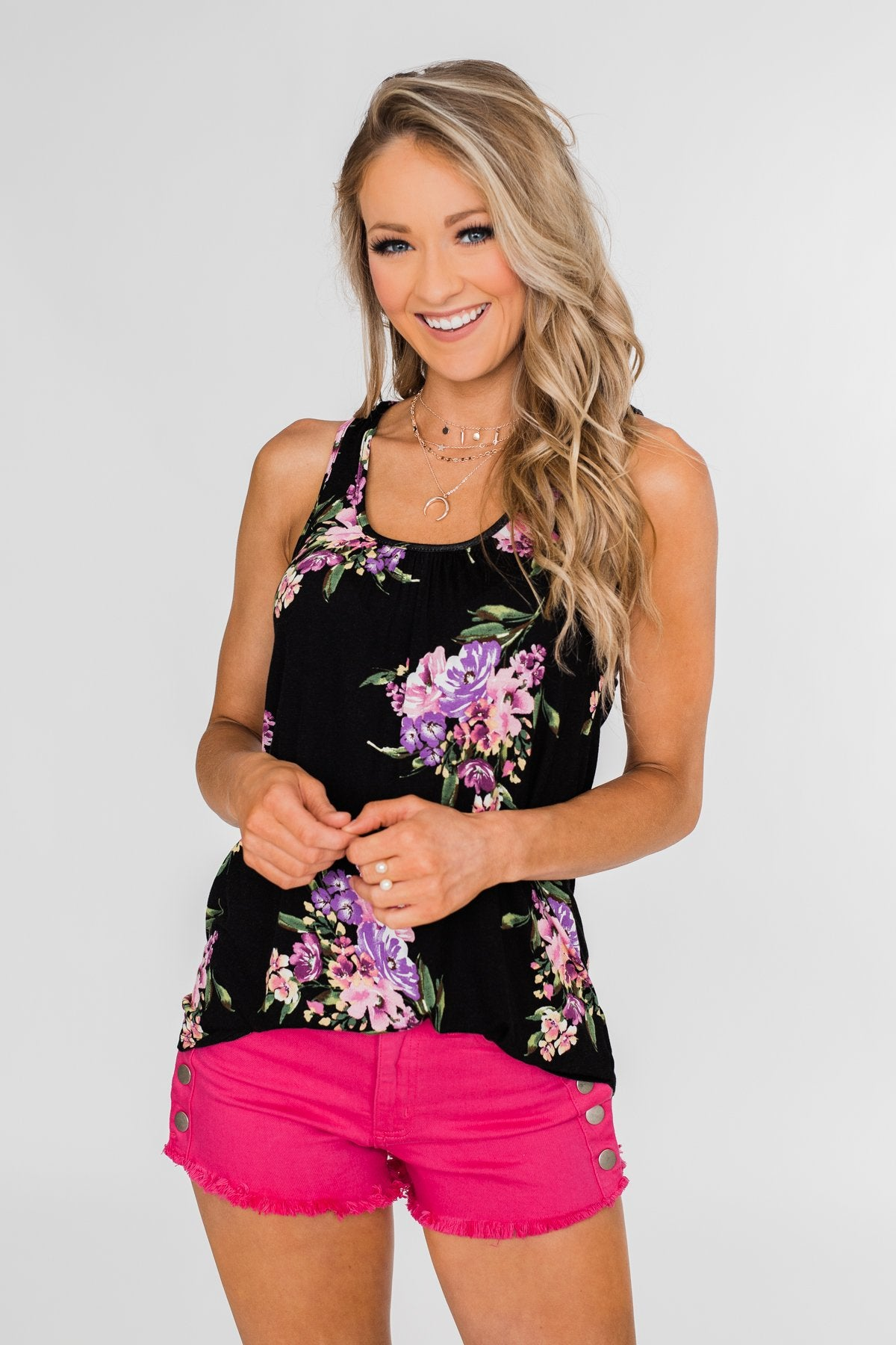 12ce765354 Night Blooms Floral Racerback Tank Top- Black – The Pulse Boutique