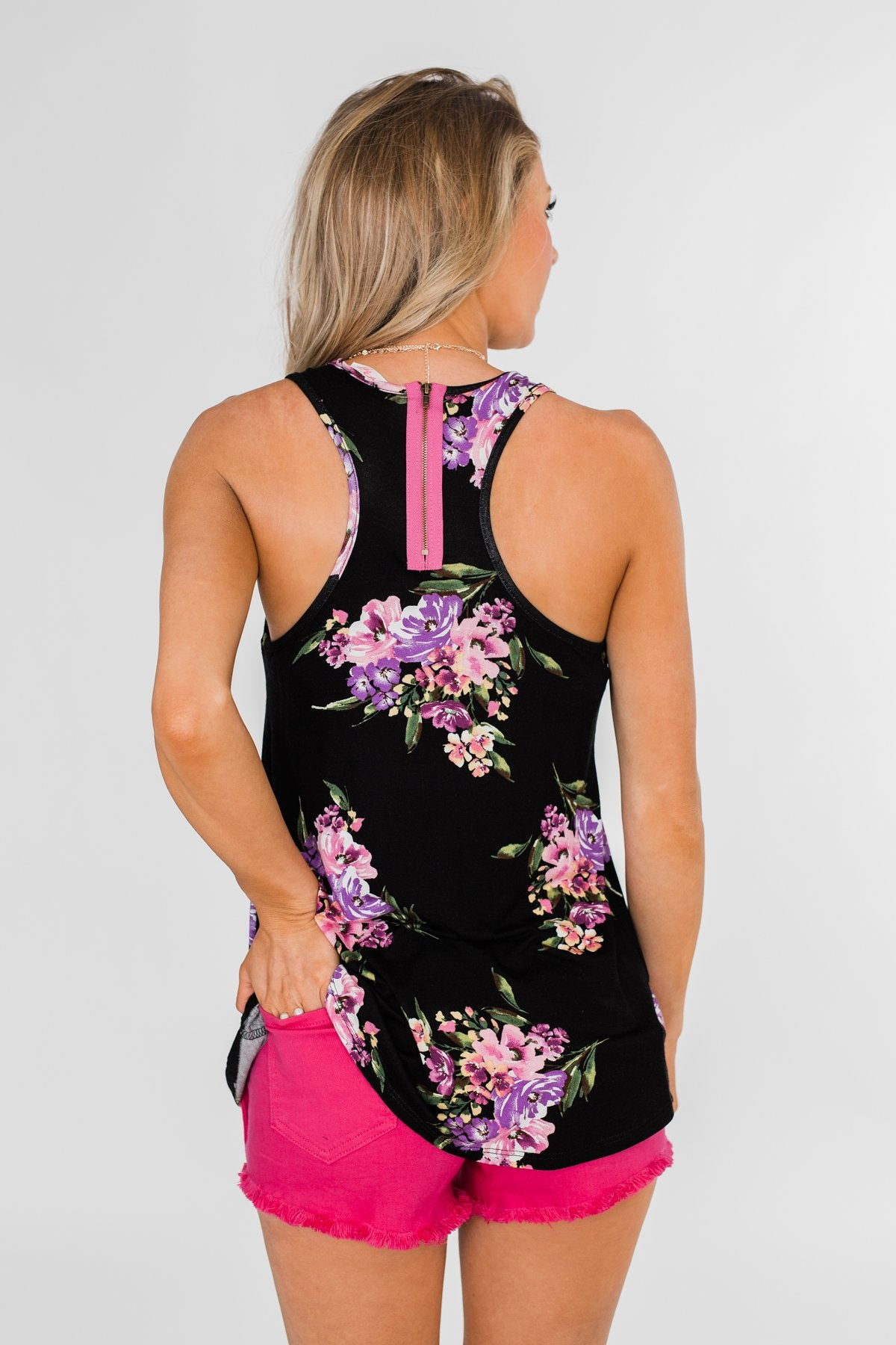 Night Blooms Floral Racerback Tank Top- Black