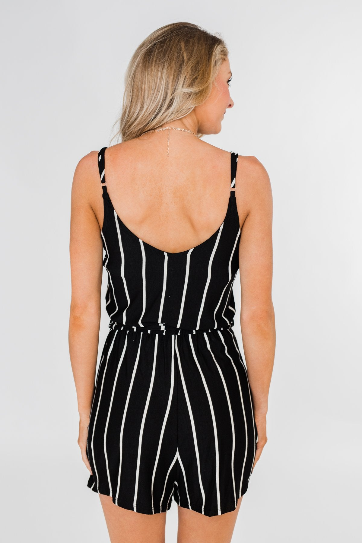 Ready to Go Striped Romper- Black & White