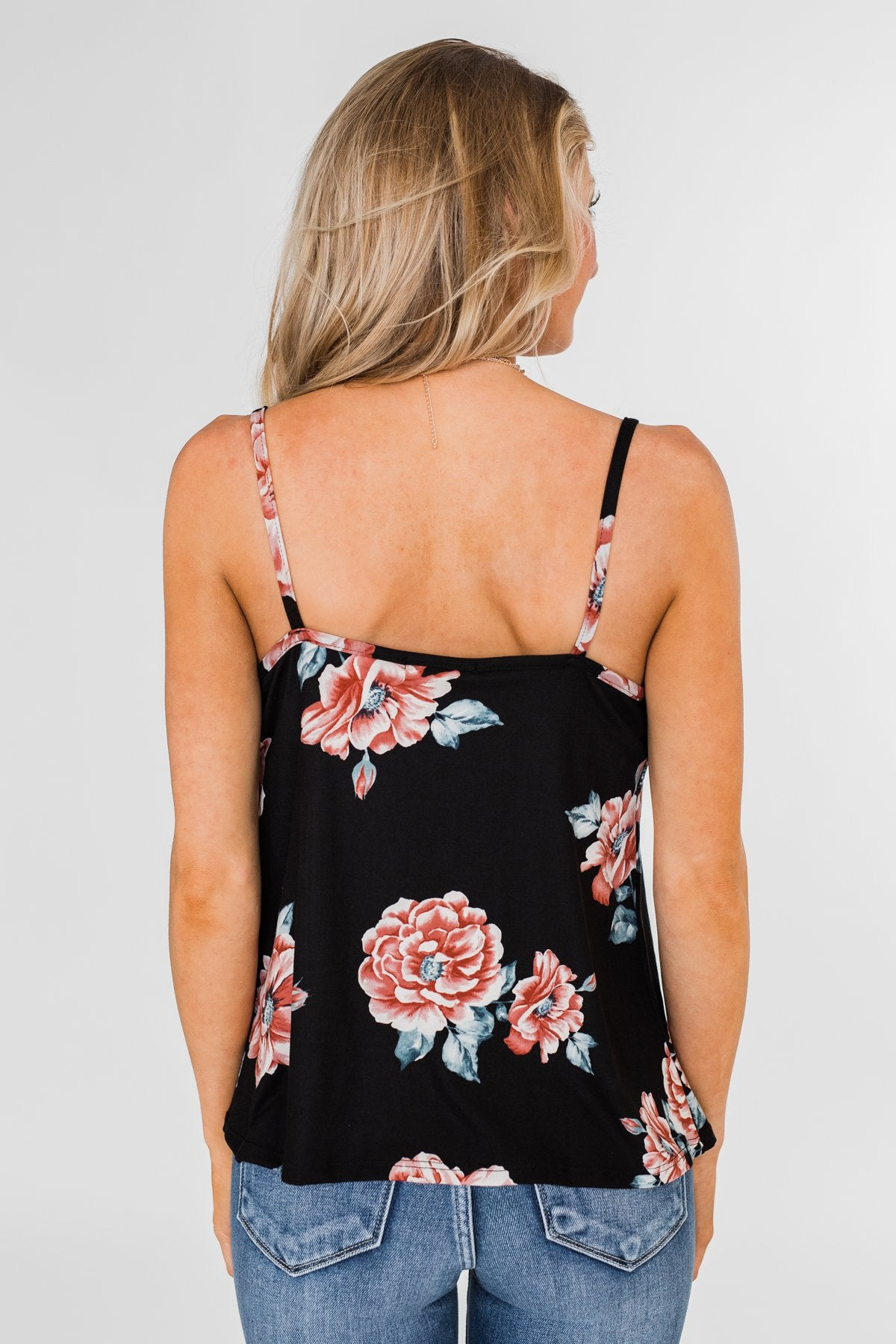 Floral Drape Neck Tank Top- Black