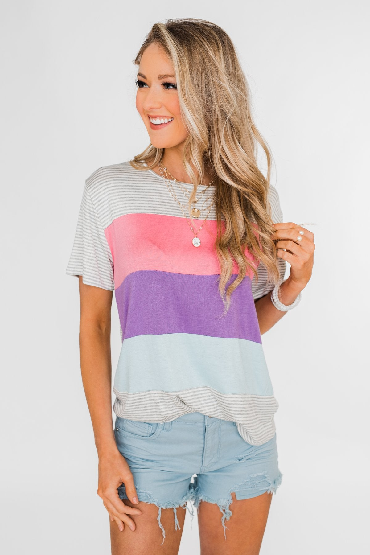 One Day At A Time Striped Color Block Top- Pink, Purple, Blue