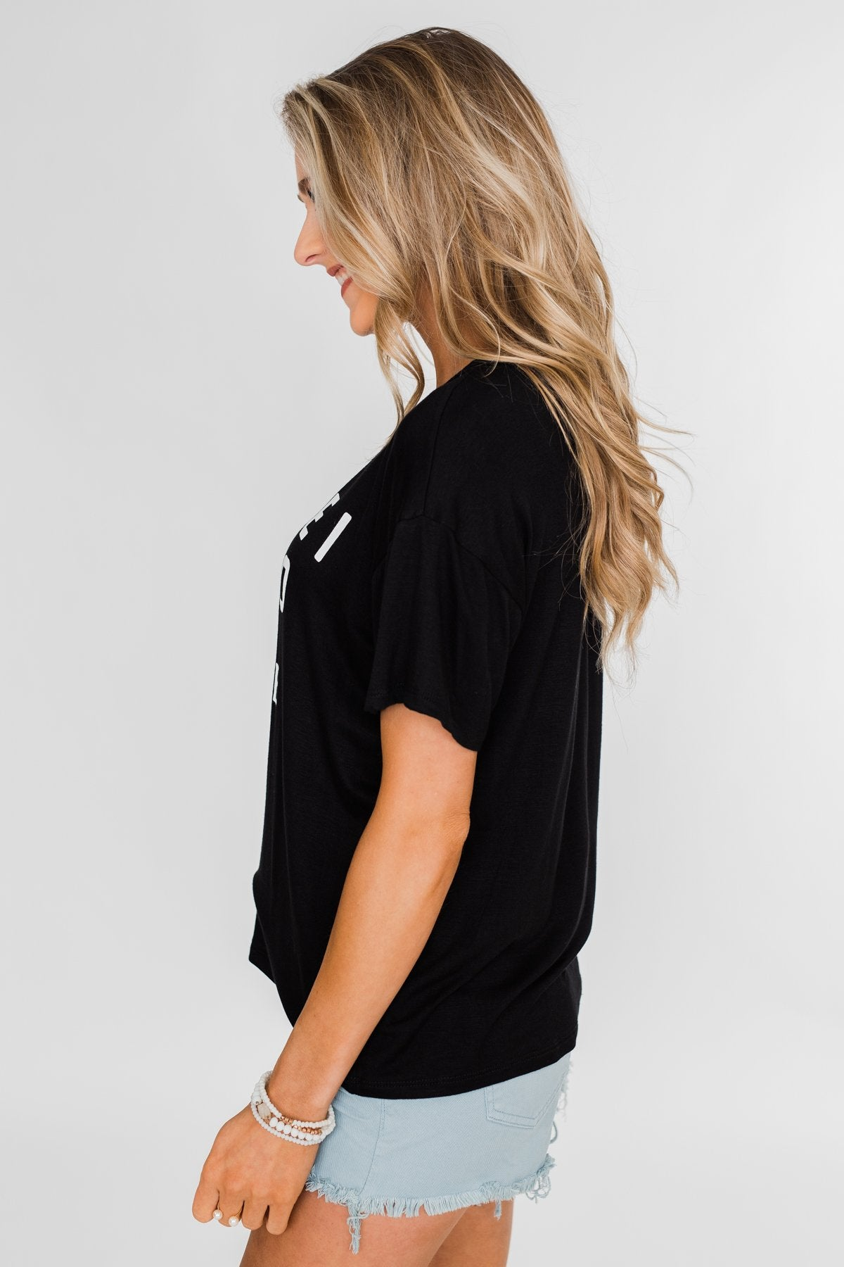 """Because I Said So"" Graphic Short Sleeve Top- Black"
