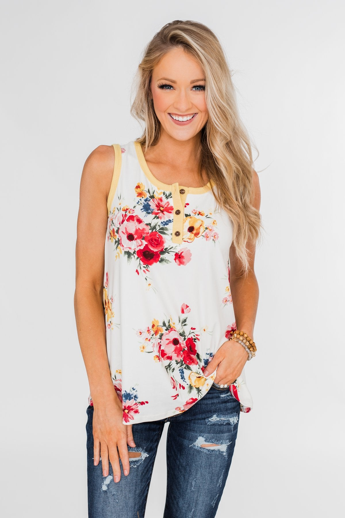The Life I'm Living Floral Tank Top- Yellow