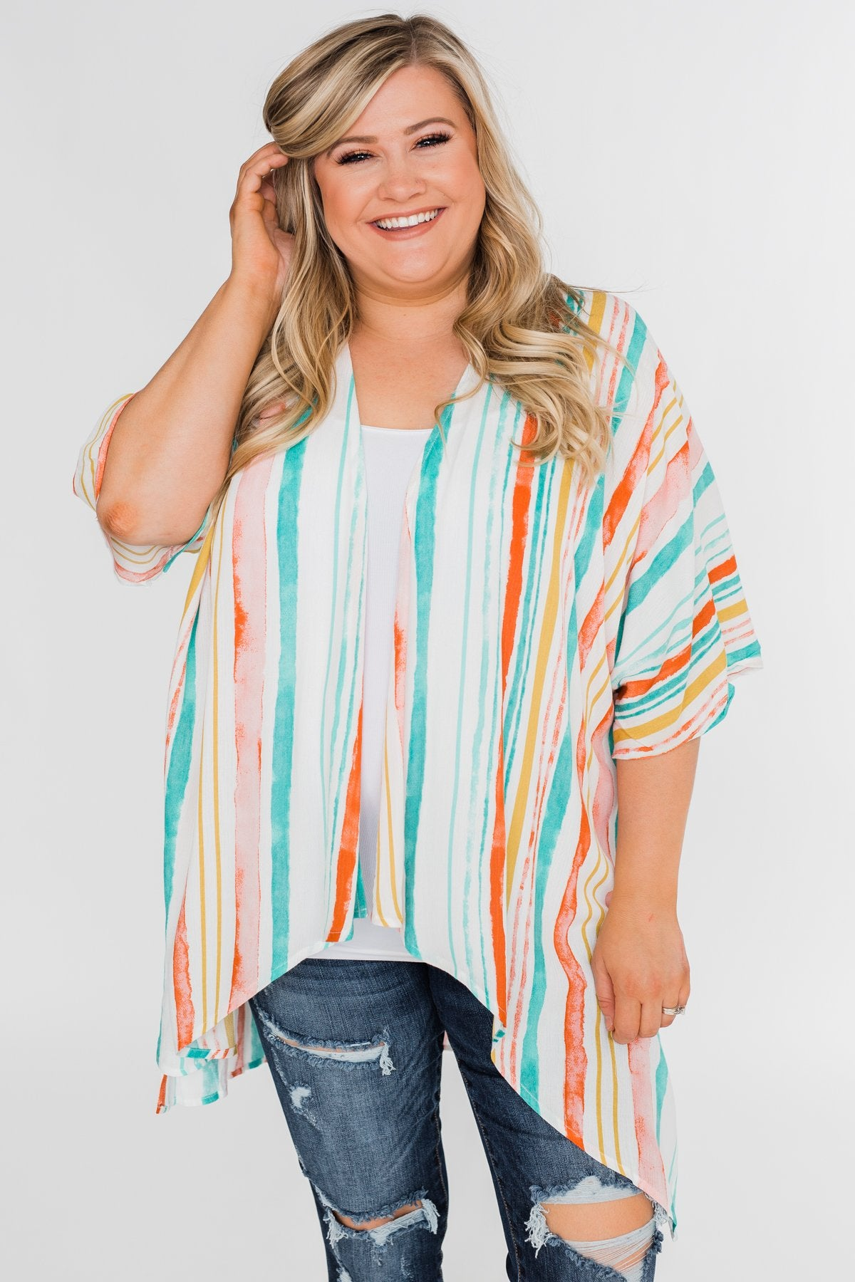 Summer Sunset Kimono- Blue & Orange