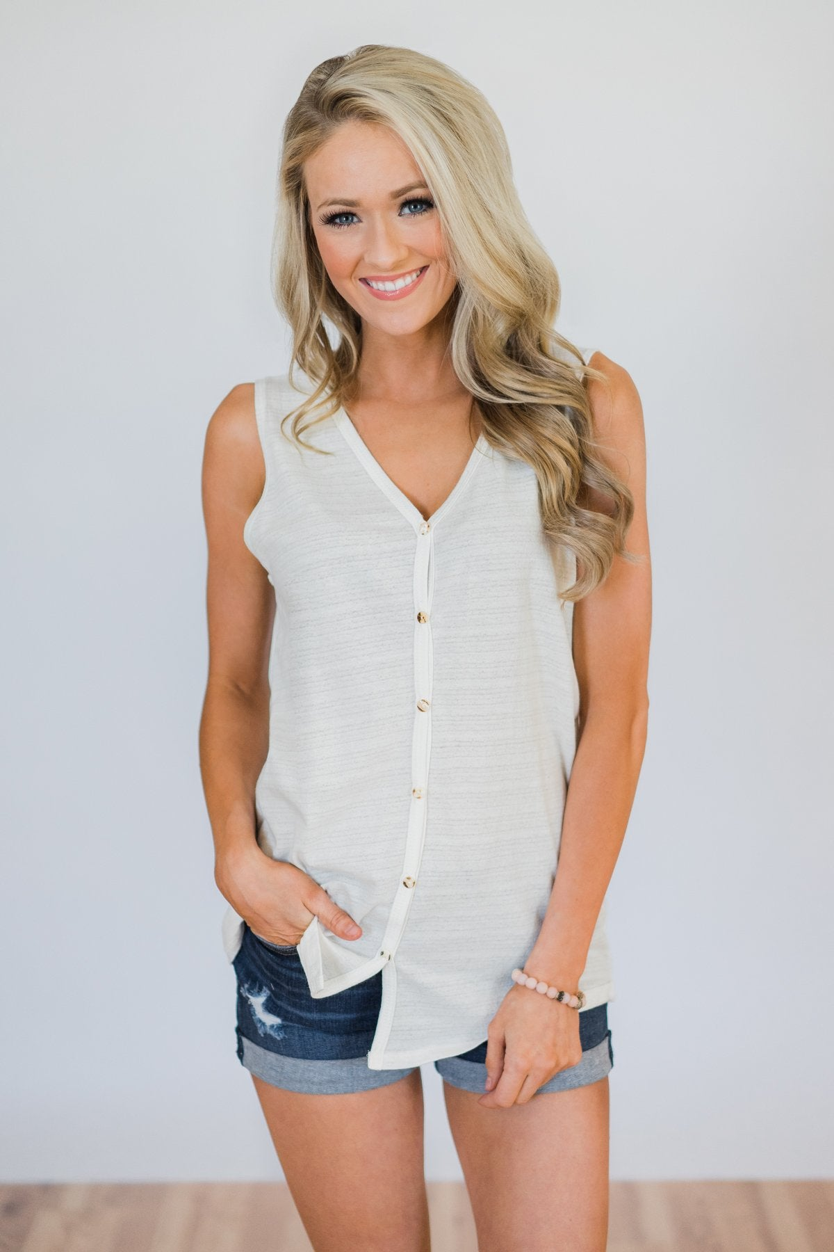 Basic Button Tank Top- Ivory