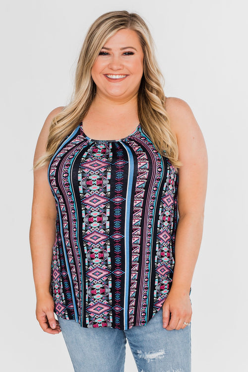 How About Now Printed Zipper Tank Top- Blue Tones