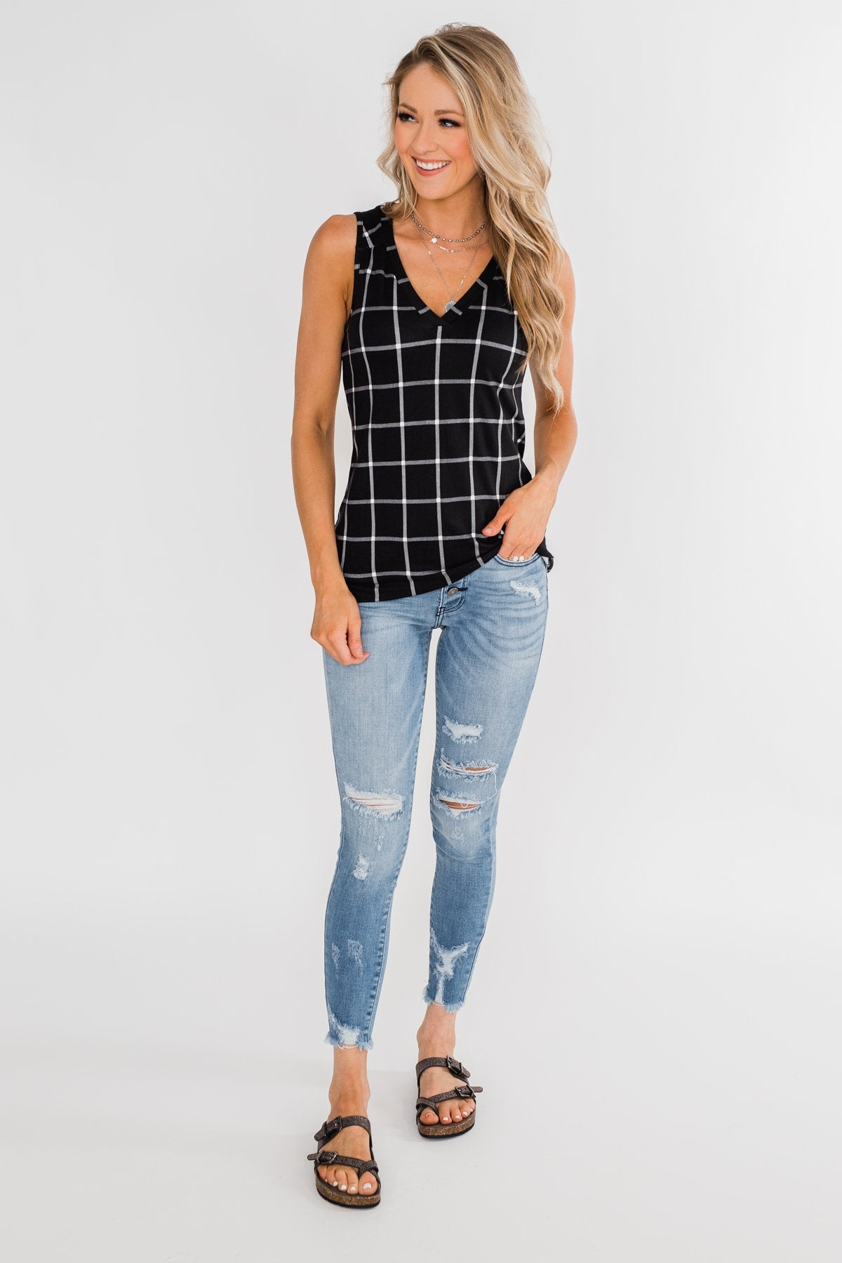 Step to the Beat Graph Striped Tank Top- Black