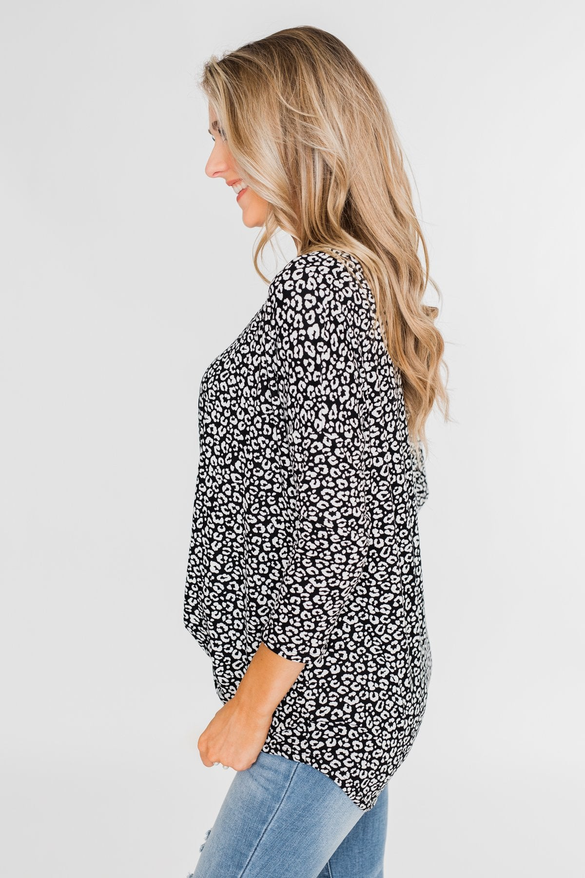 For a Little While Leopard Twist Top- Black