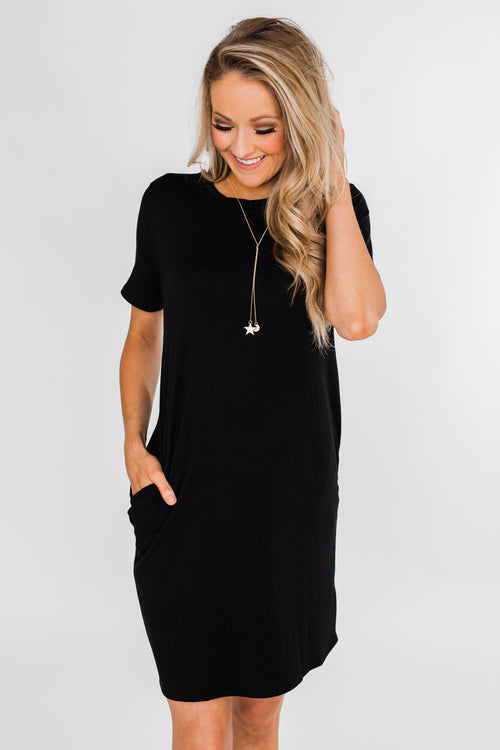 Short Sleeve T-Shirt Dress- Black