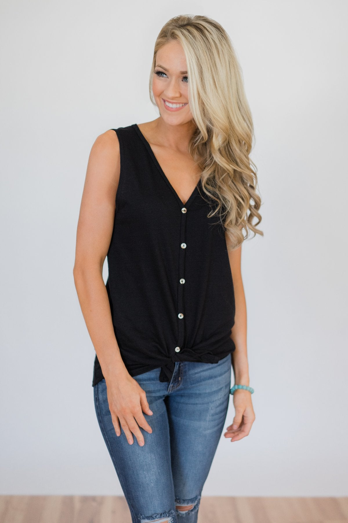 Basic Button Tank Top- Black