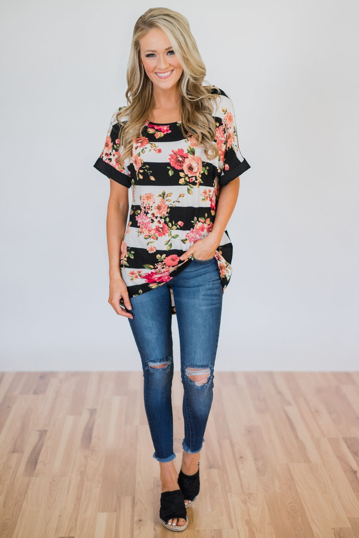 Today is the Day Striped Floral Top