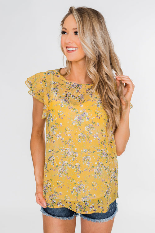 In Perfect Harmony Floral Ruffle Sleeve Top- Yellow