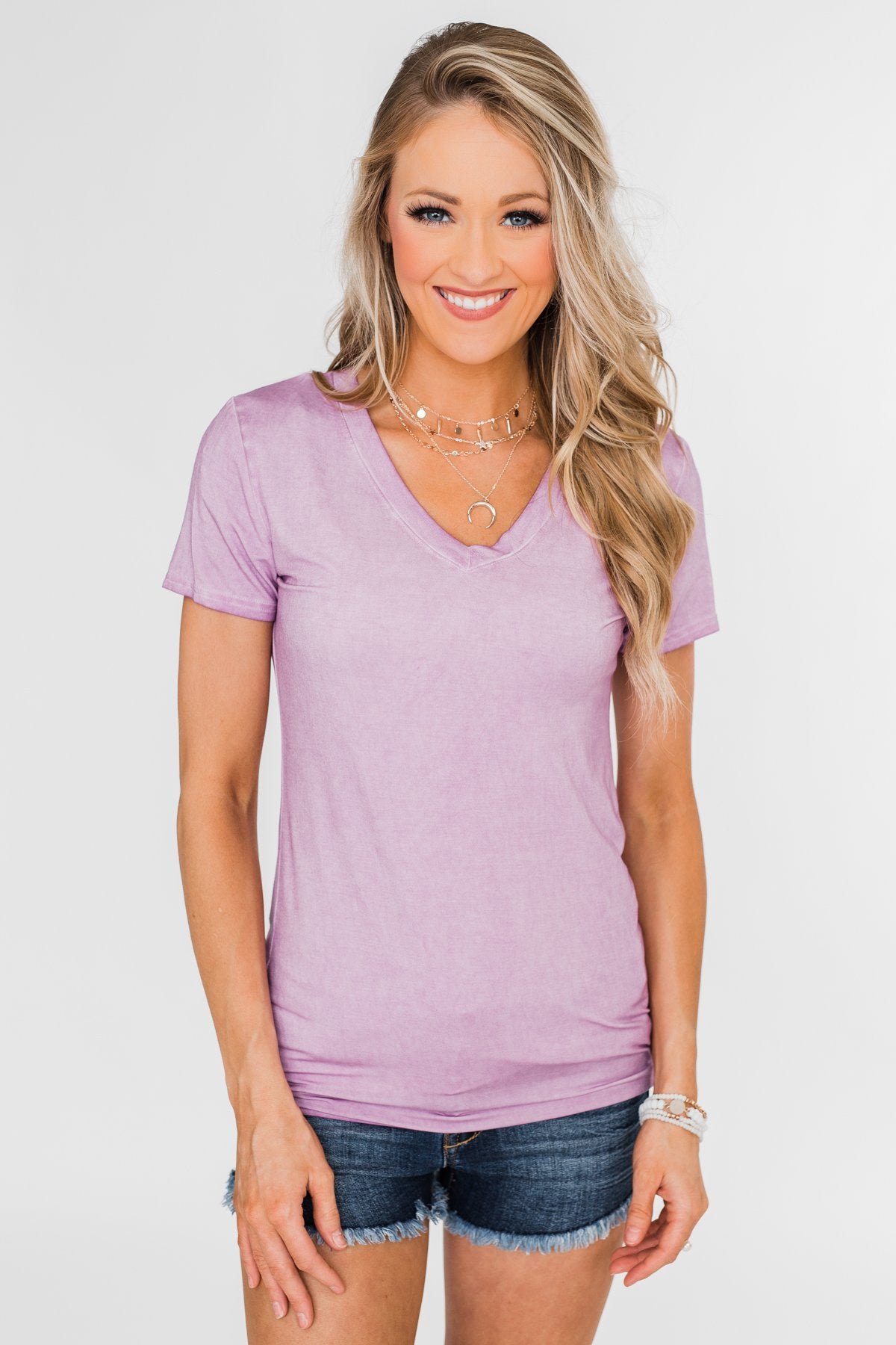 Basic V-Neck Top- Vintage Purple