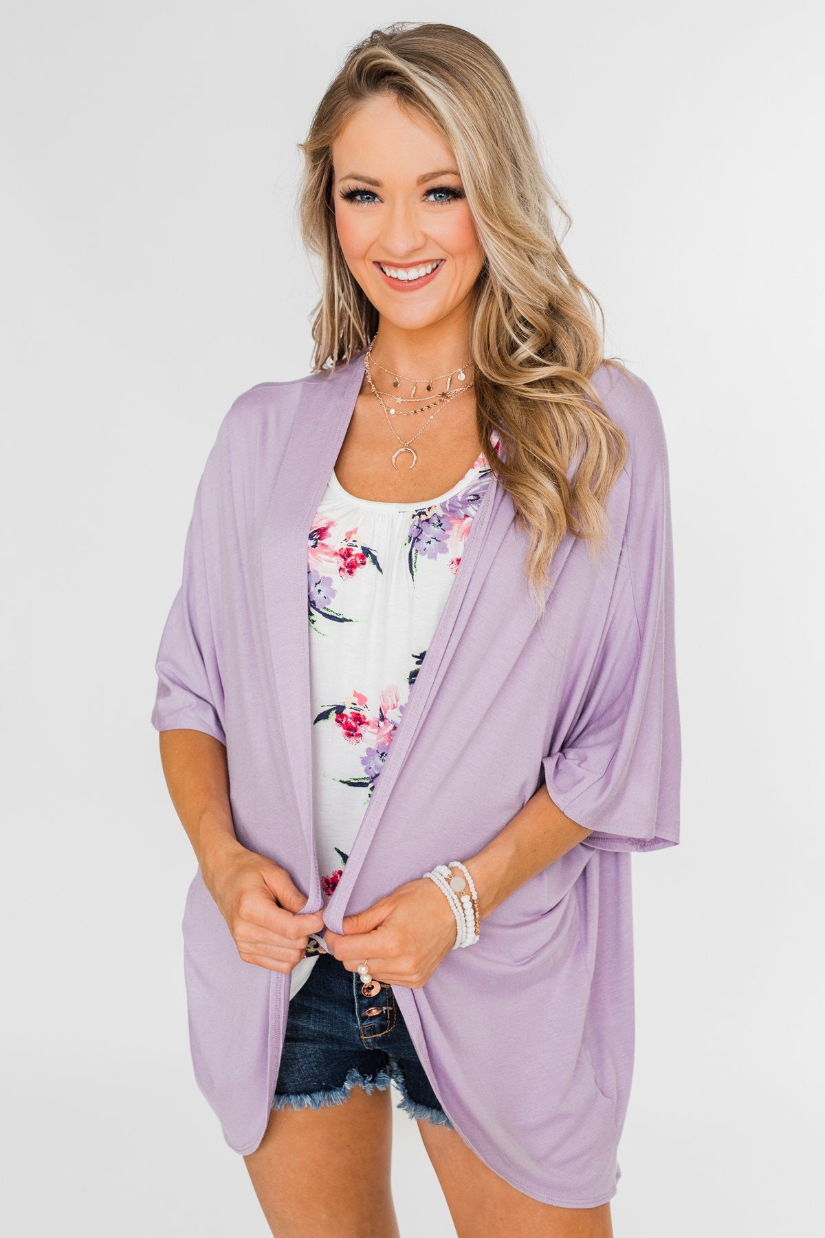 Need For You Short Sleeve Kimono- Light Purple
