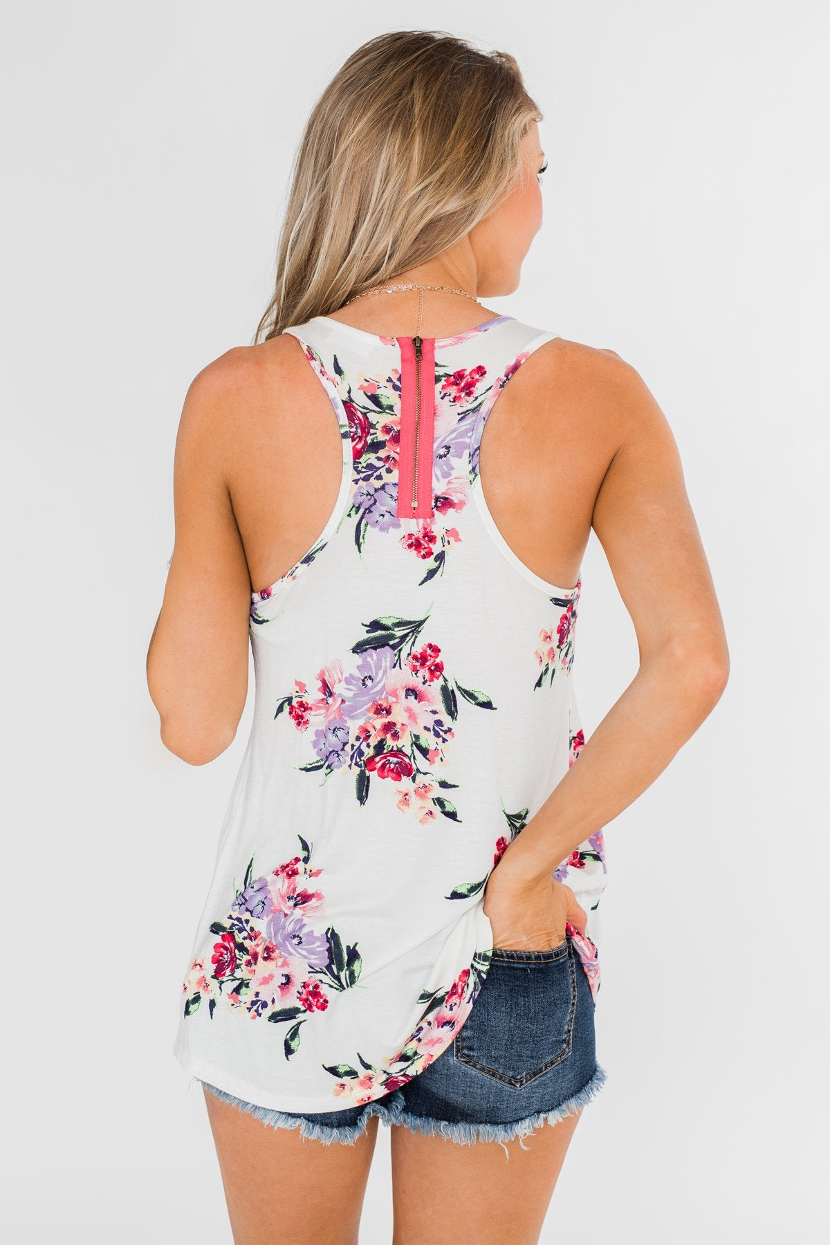Night Blooms Floral Racerback Tank Top- Ivory