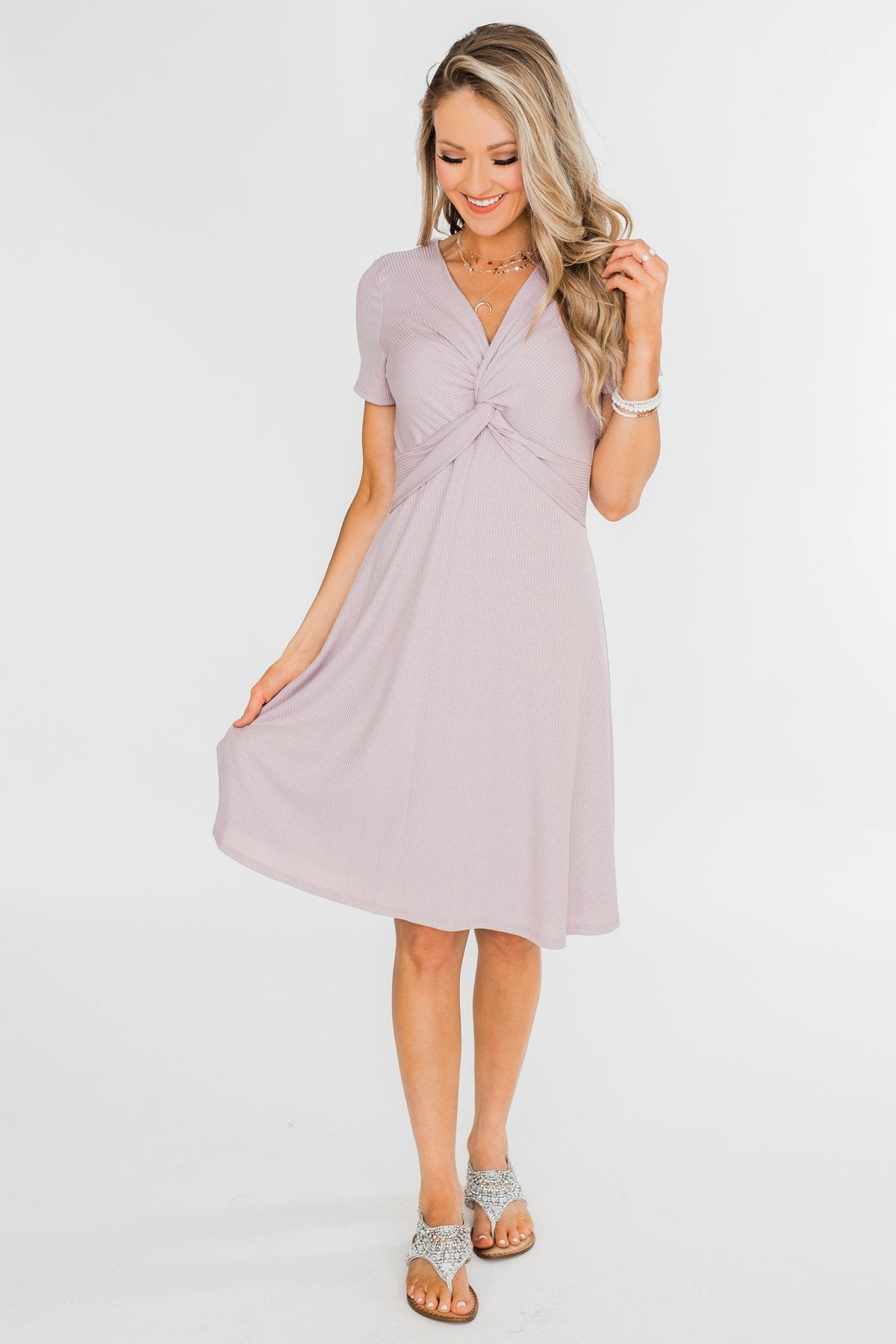 Tell Me More Front Knot Dress- Mauve