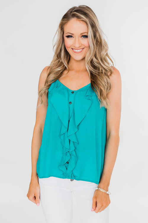 Ideal Situation Ruffle Tank Top- Turquoise