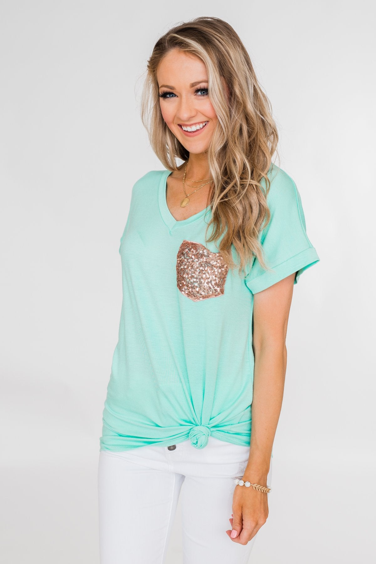 Attracted To You Sequin Pocket Top- Aqua