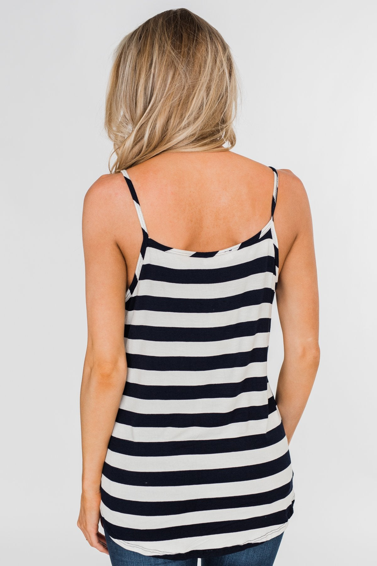 Give It To Me Striped Tank Top- Navy