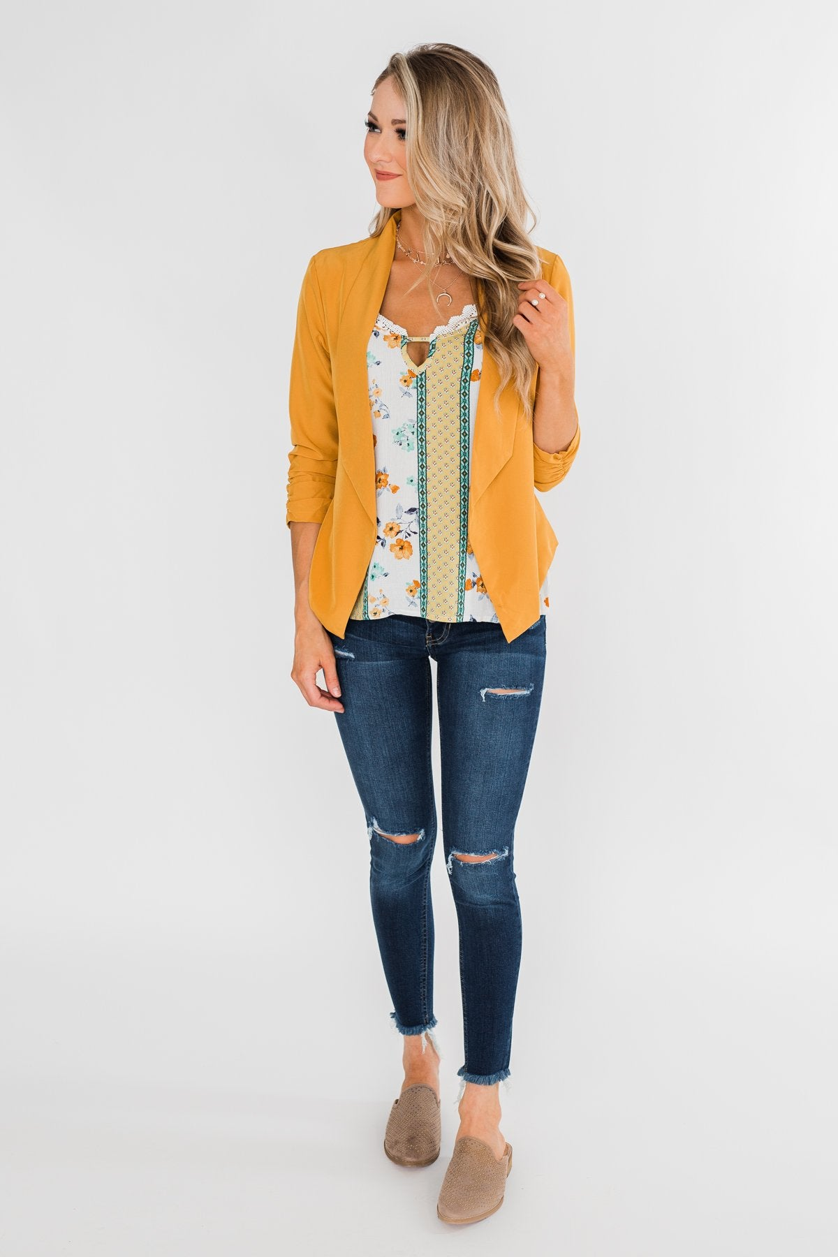 Keep It Professional Blazer- Mustard