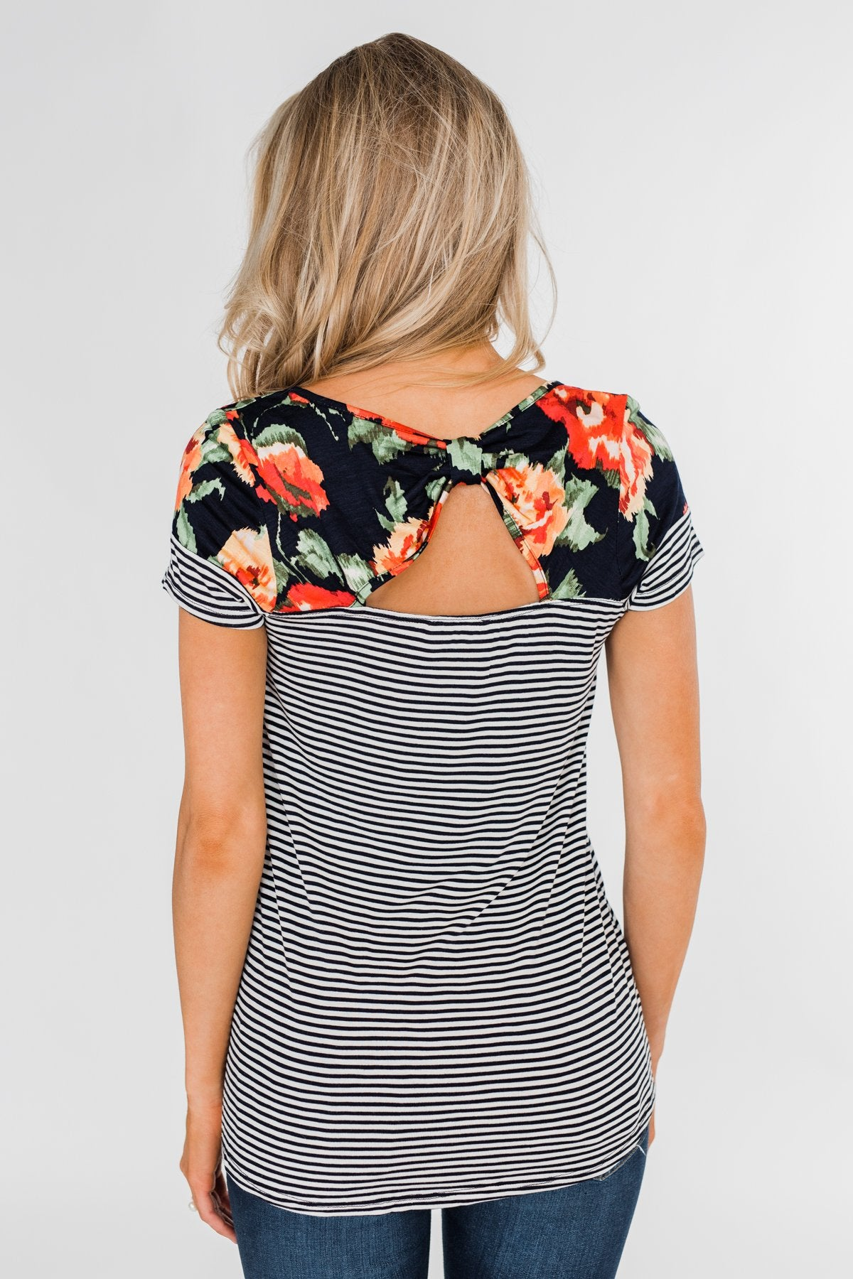 Floral Fever Short Sleeve Stripe and Floral Top - Navy