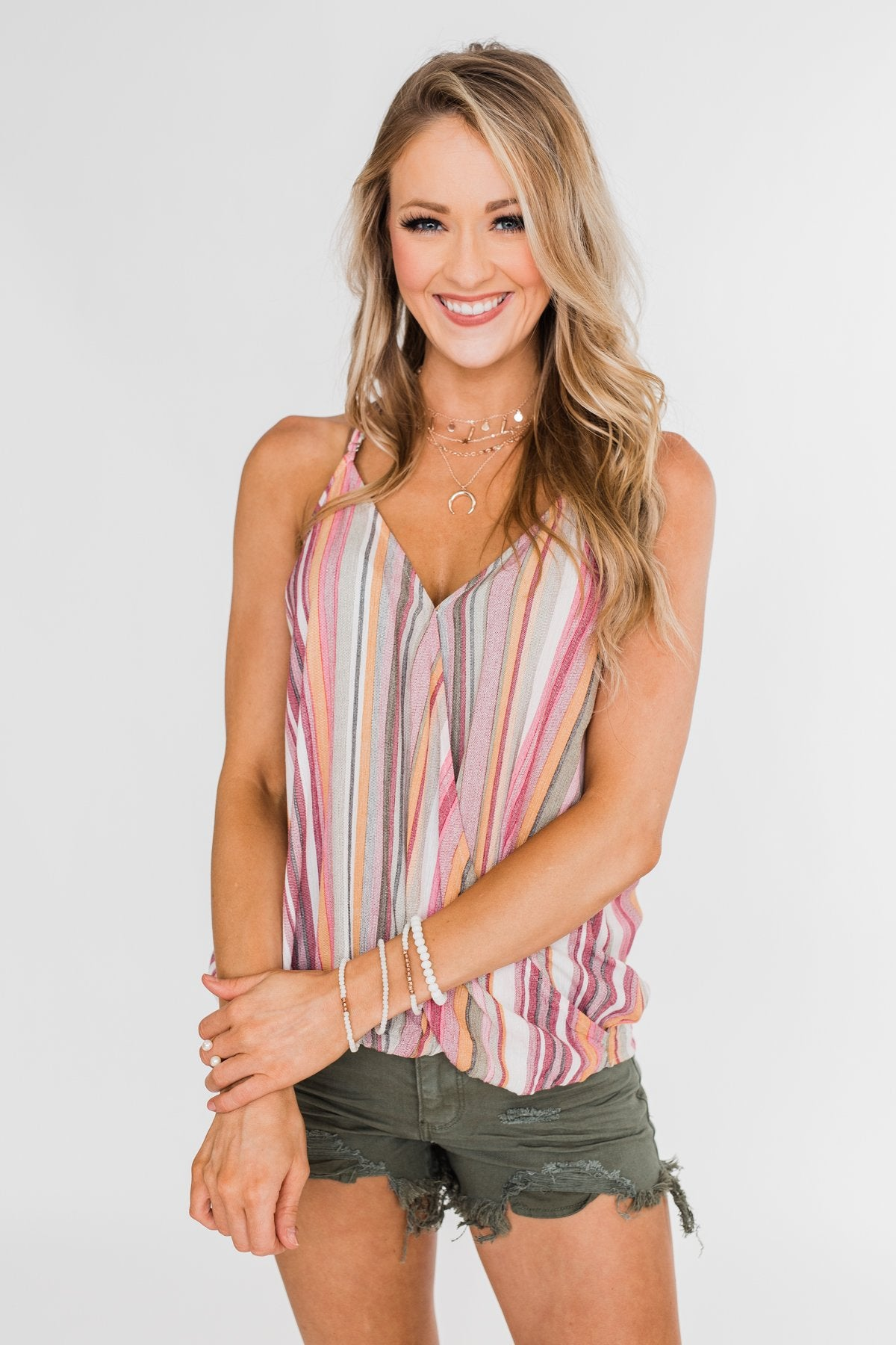 Colorful Stripe and Crochet Halter Tank Top- Purple & Taupe