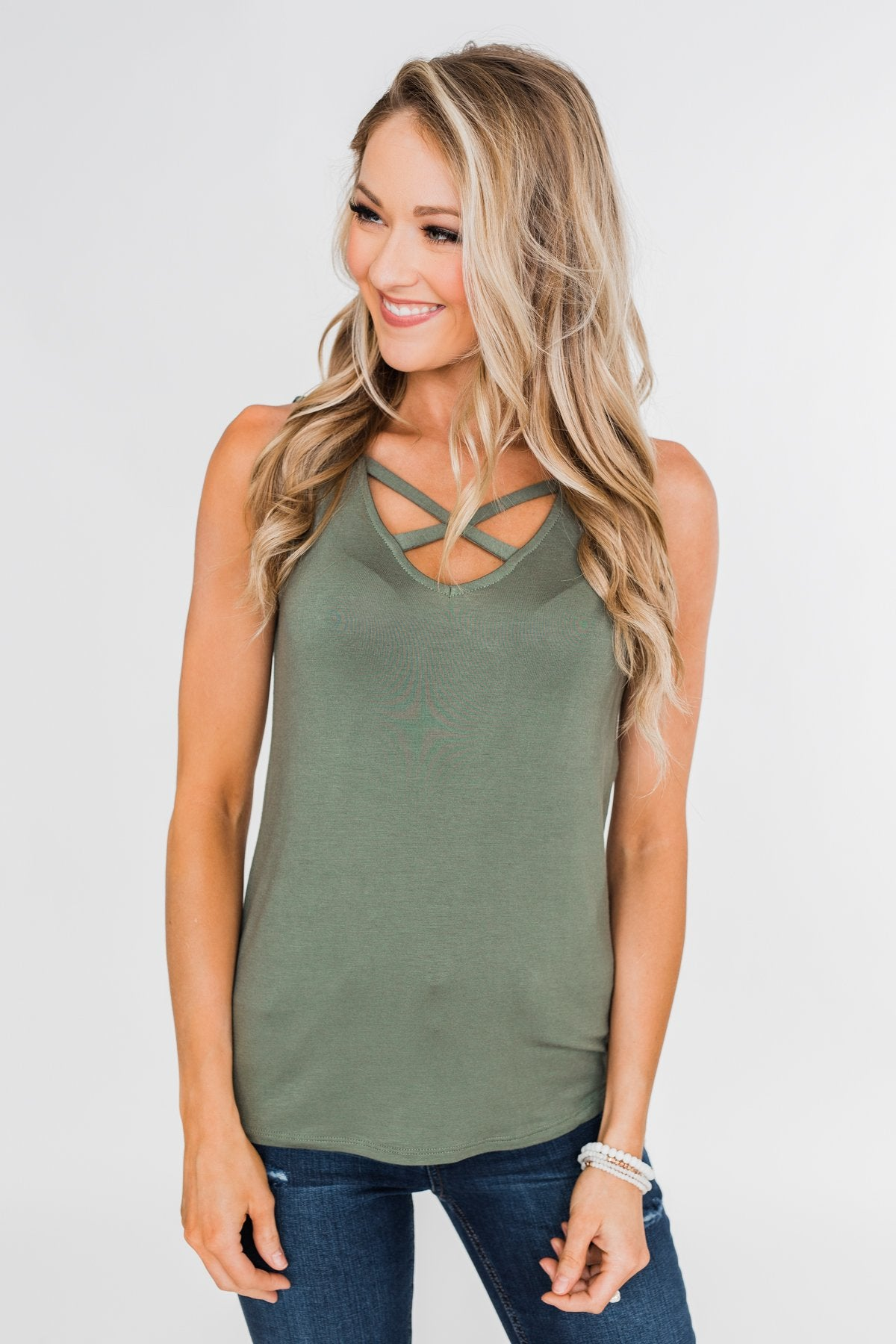 Places to Go Criss Cross Tank Top- Olive