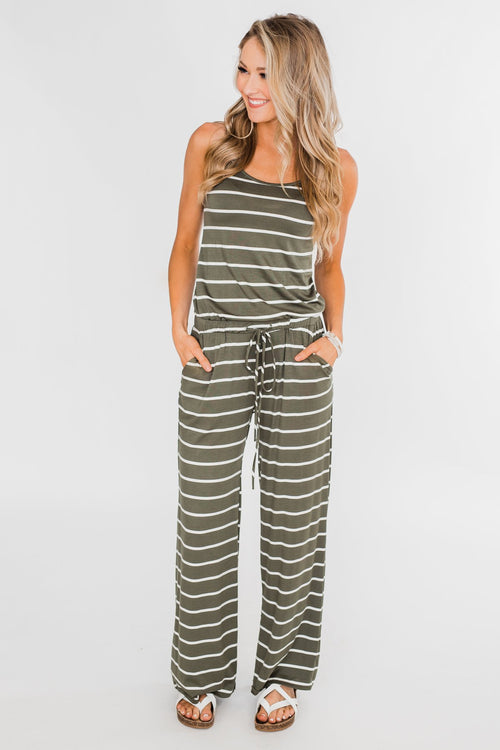 Striped Drawstring Jumpsuit- Ivory & Olive