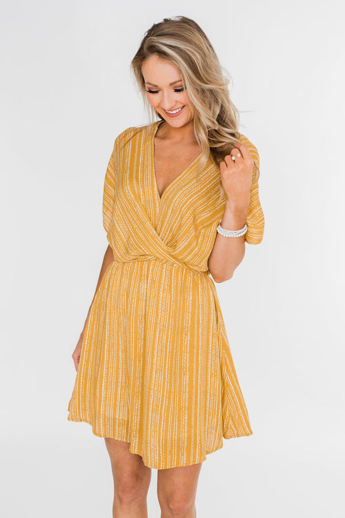 Greatest Love Story Tie Detail Dress- Mustard